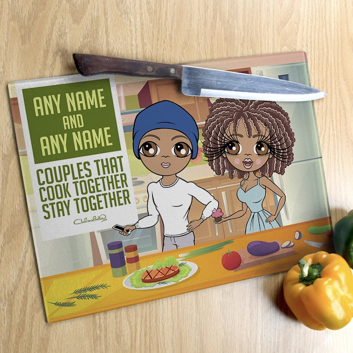 ClaireaBella Glass Chopping Board - Couples Cook Together - Image 1