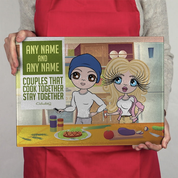 ClaireaBella Glass Chopping Board - Couples Cook Together - Image 3
