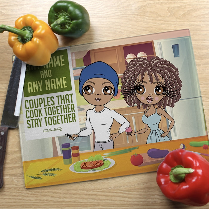 ClaireaBella Glass Chopping Board - Couples Cook Together - Image 2