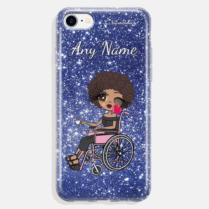 ClaireaBella Wheelchair Personalised Glitter Effect Phone Case - Blue - Image 1