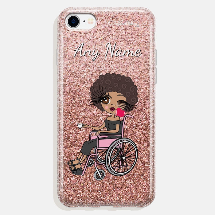 ClaireaBella Wheelchair Personalised Glitter Effect Phone Case - Blush - Image 1