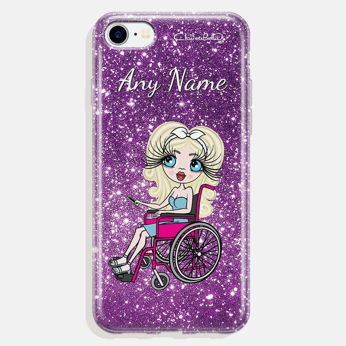 ClaireaBella Wheelchair Personalised Glitter Effect Phone Case - Purple - Image 3