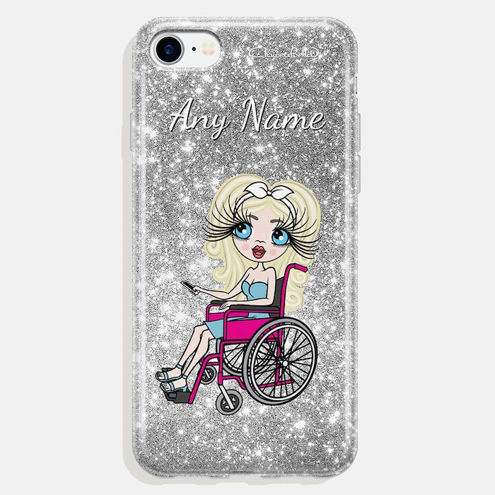 ClaireaBella Wheelchair Personalised Glitter Effect Phone Case - Silver - Image 2
