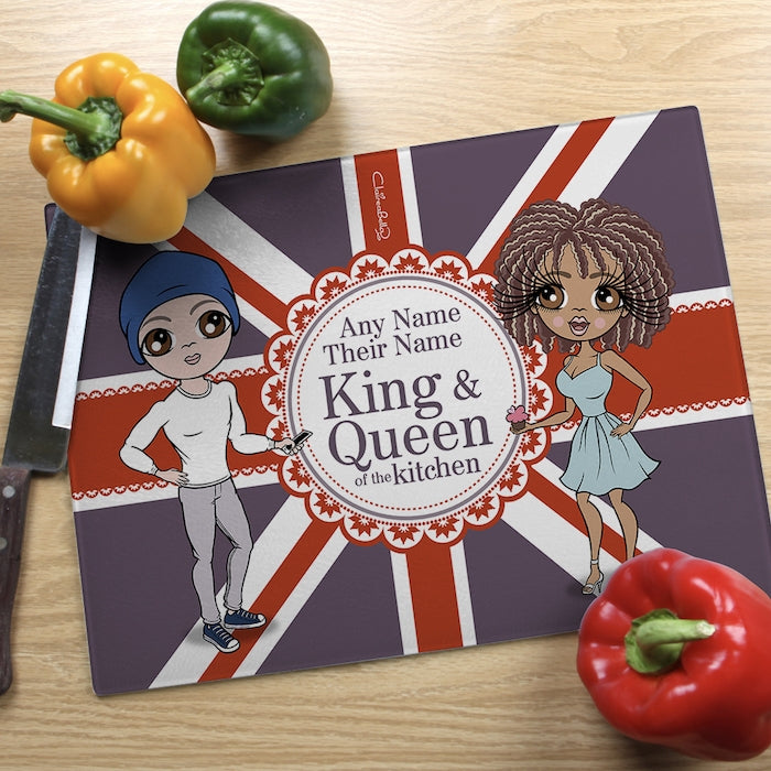 ClaireaBella Glass Chopping Board - Couples King and Queen - Image 1