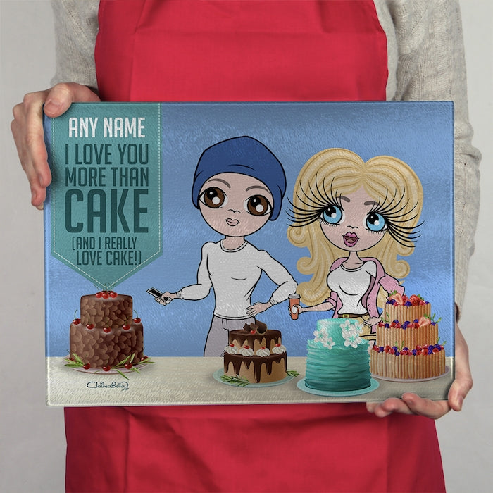 ClaireaBella Glass Chopping Board - Couples Love Cake - Image 1