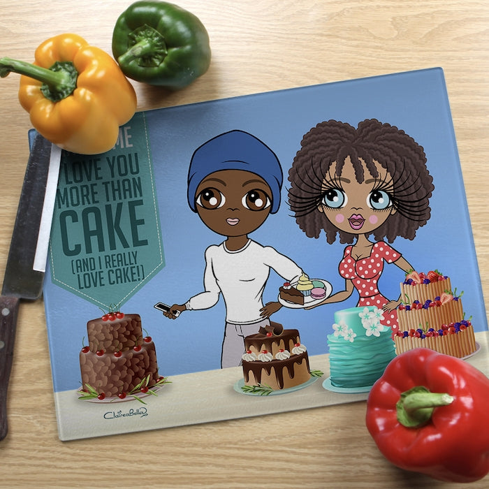 ClaireaBella Glass Chopping Board - Couples Love Cake - Image 2