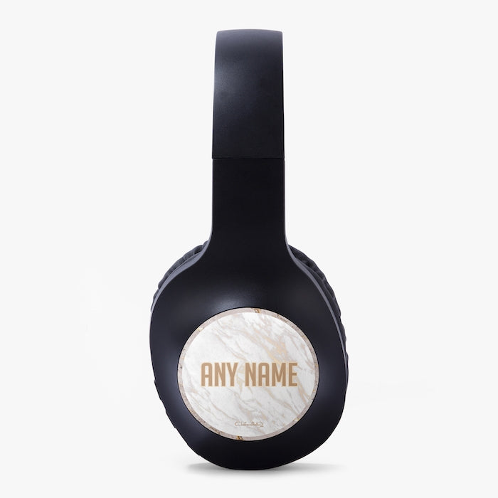 ClaireaBella Gold Marble Personalised Wireless Headphones - Image 2