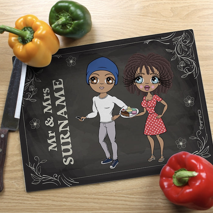 ClaireaBella Glass Chopping Board - Couples Mr and Mrs - Image 1