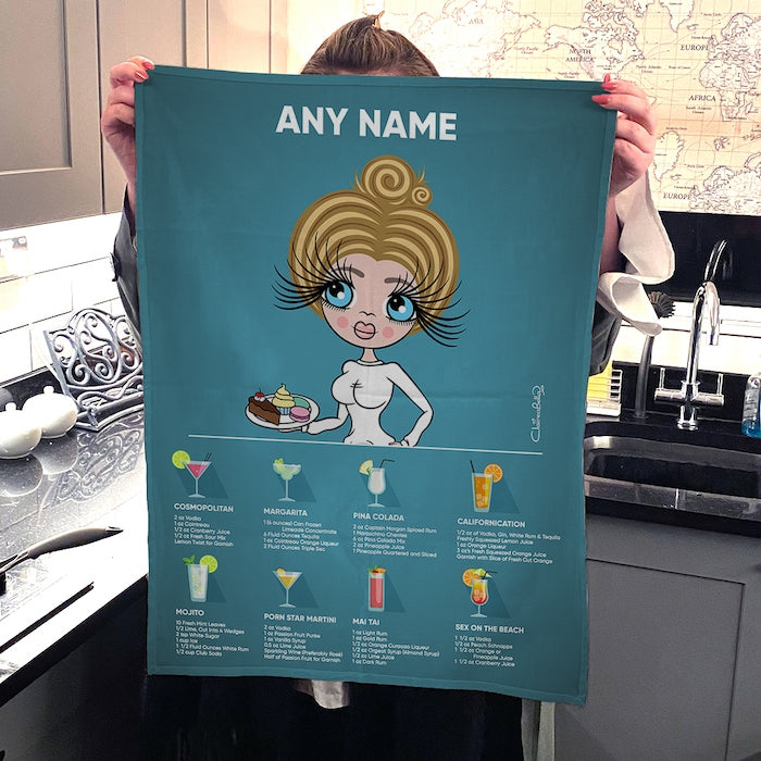 ClaireaBella Personalised Portrait Cocktail Recipes Tea Towel - Image 3
