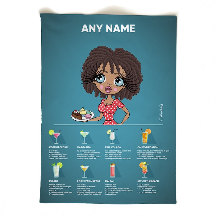 ClaireaBella Personalised Portrait Cocktail Recipes Tea Towel - Image 2