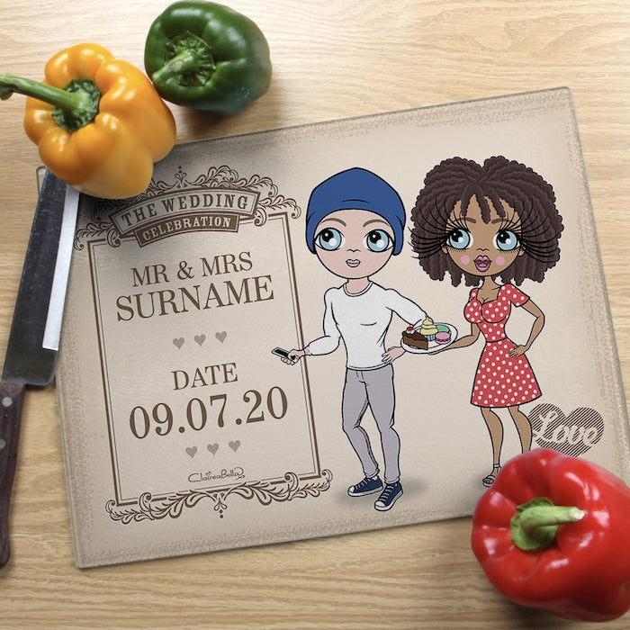 ClaireaBella Glass Chopping Board - Couples Wedding Celebration - Image 1