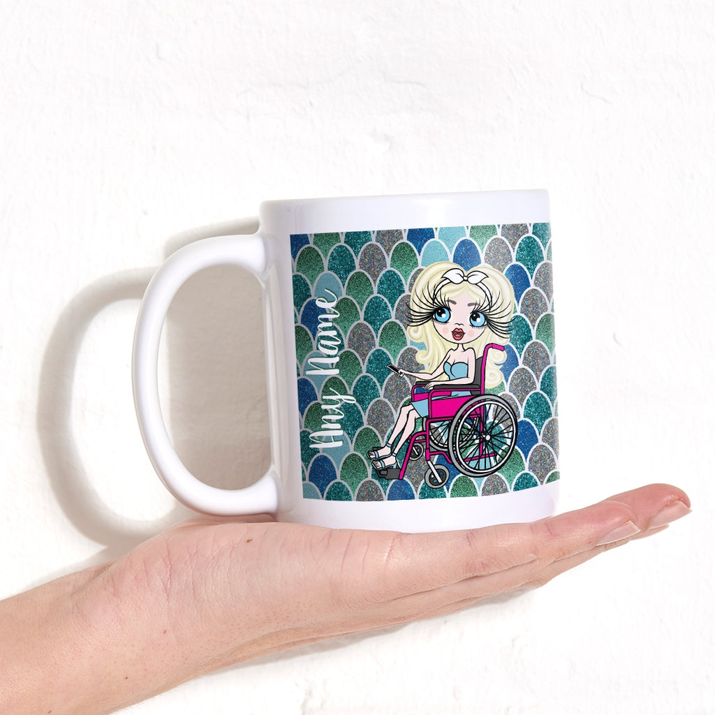 ClaireaBella Wheelchair Mermaid Glitter Effect Mug - Image 1