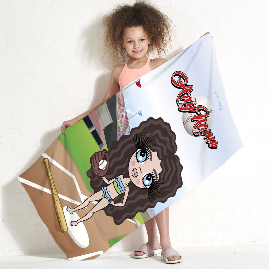 ClaireaBella Girls Baseball Beach Towel - Image 1