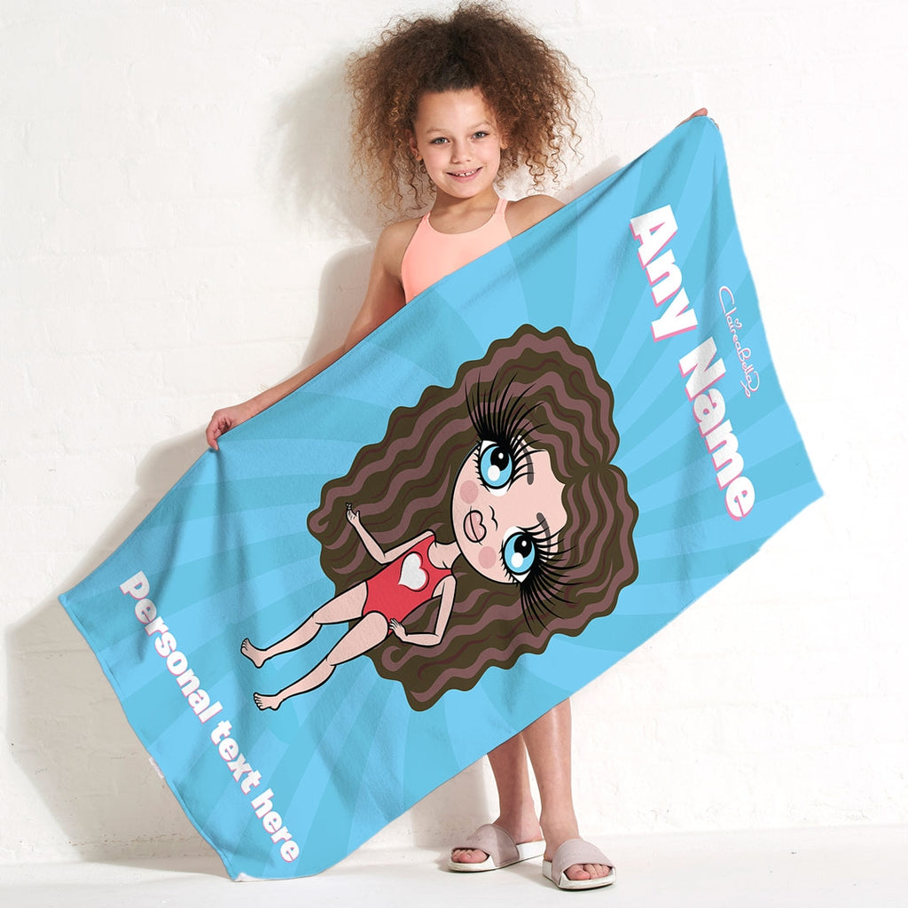 ClaireaBella Girls Blue Beach Towel - Image 1