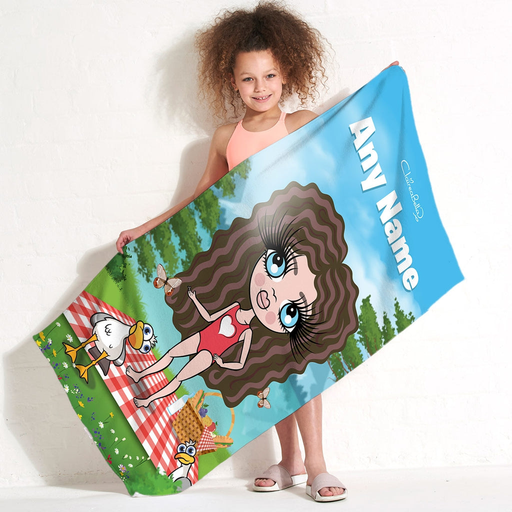 ClaireaBella Girls Picnic Fun Beach Towel - Image 1