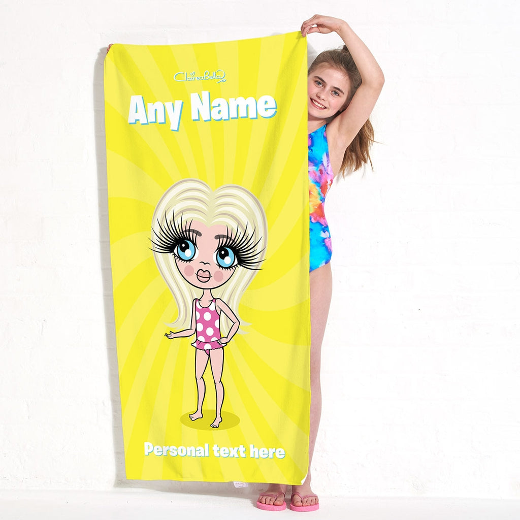 ClaireaBella Girls Yellow Beach Towel - Image 2