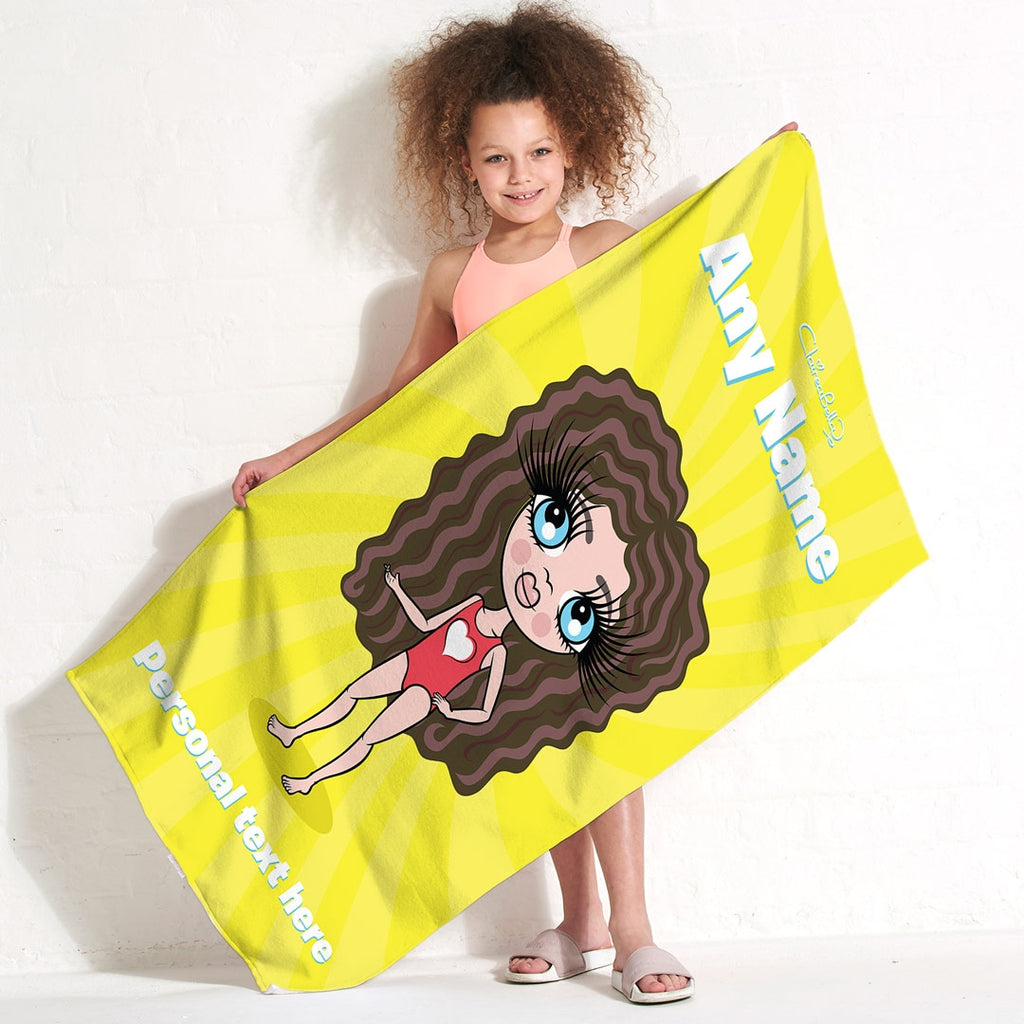 ClaireaBella Girls Yellow Beach Towel - Image 1