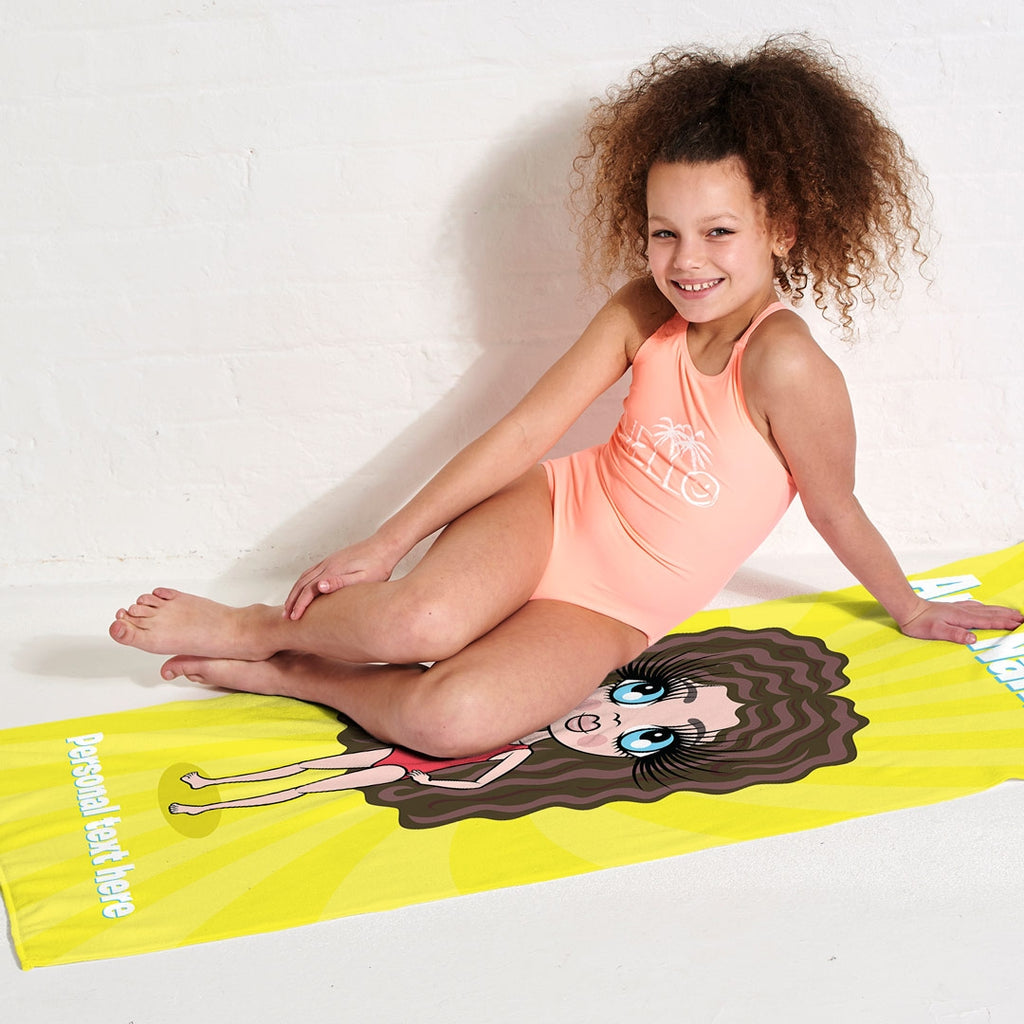 ClaireaBella Girls Yellow Beach Towel - Image 3