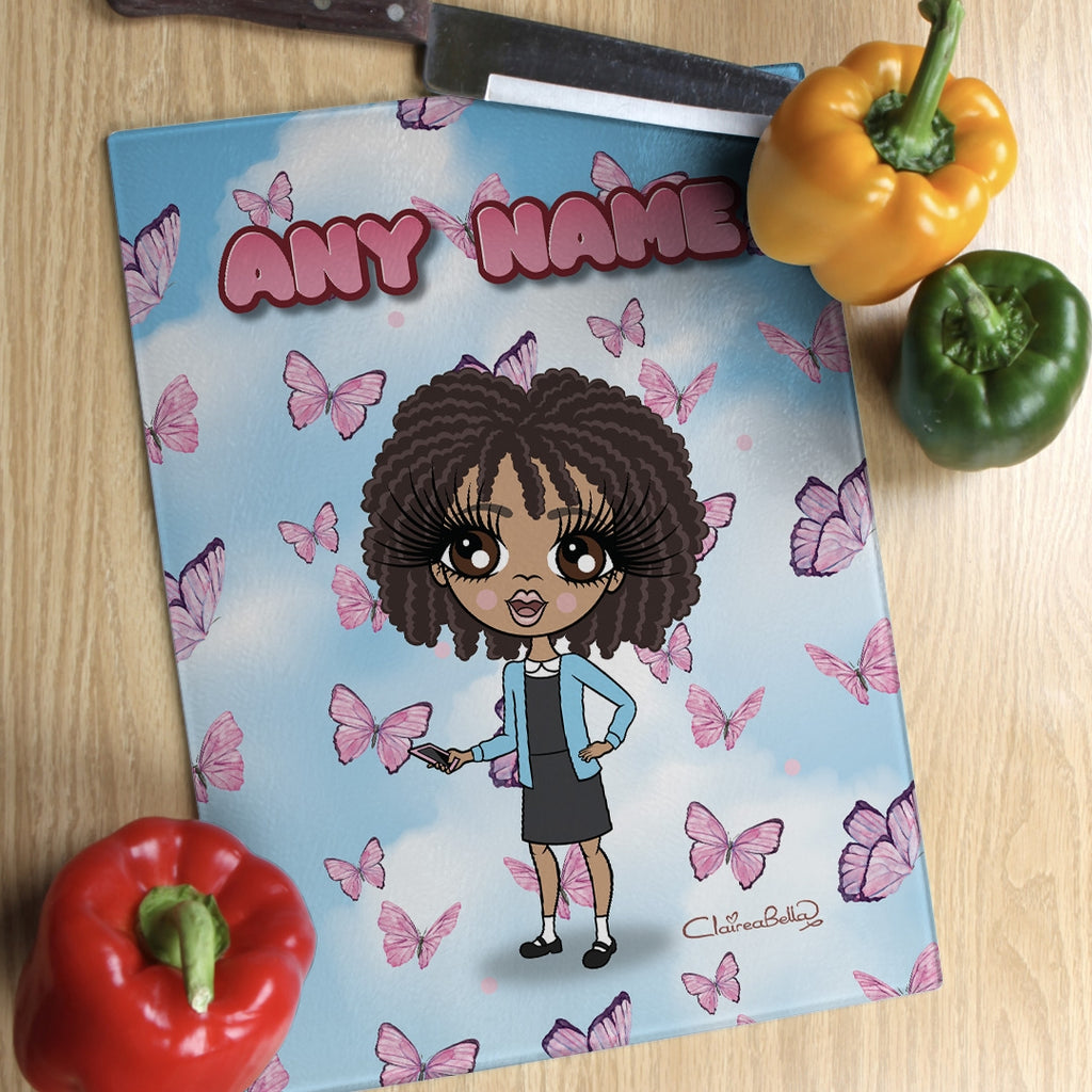 ClaireaBella Girls Glass Chopping Board - Butterflies - Image 1