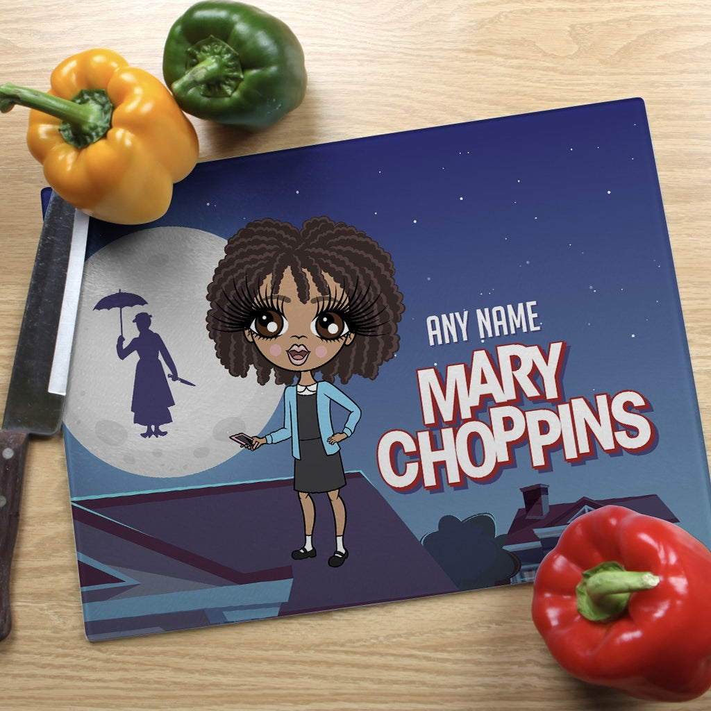 ClaireaBella Girls Landscape Glass Chopping Board - Mary Choppins - Image 1