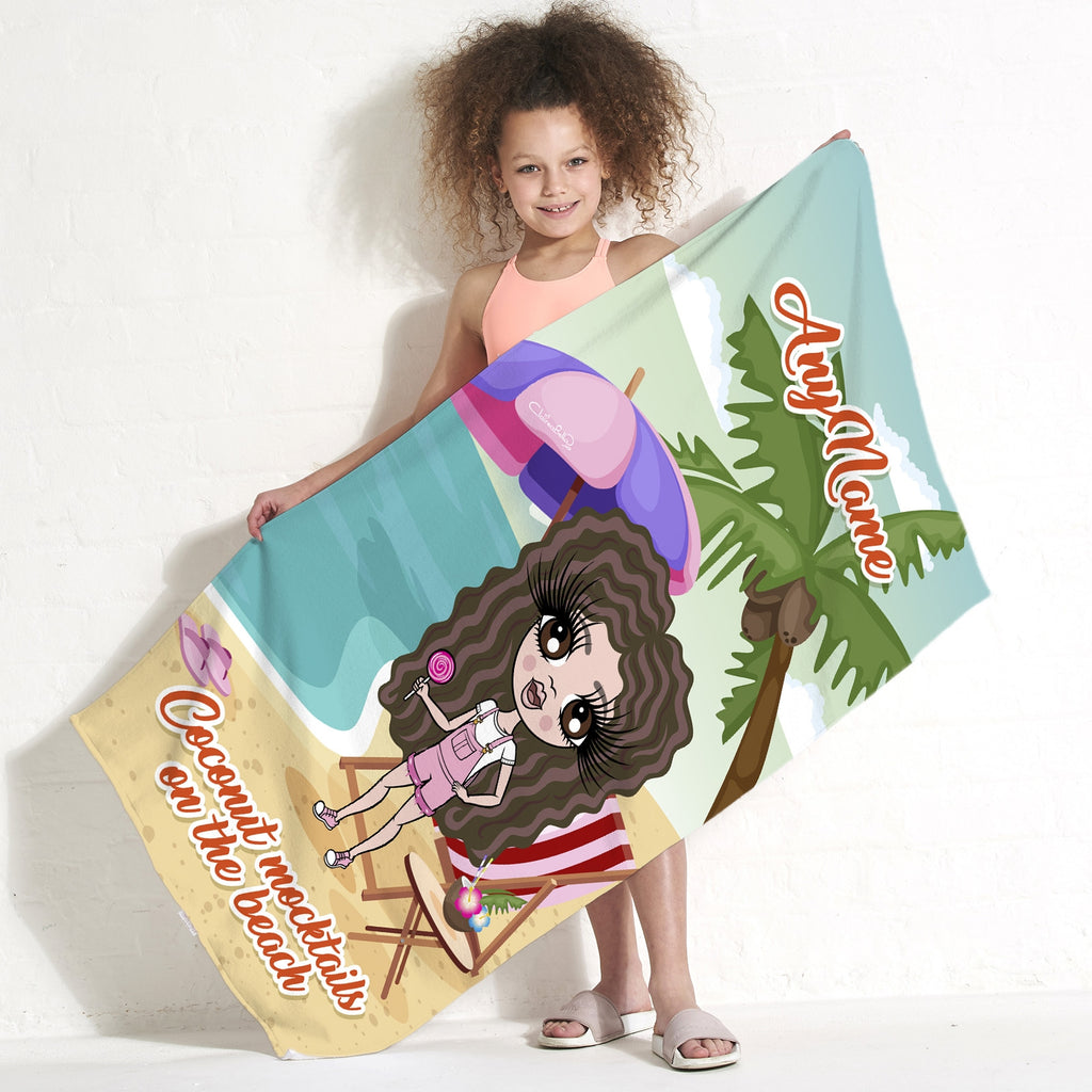 ClaireaBella Girls Coconut Mocktails Beach Towel - Image 1
