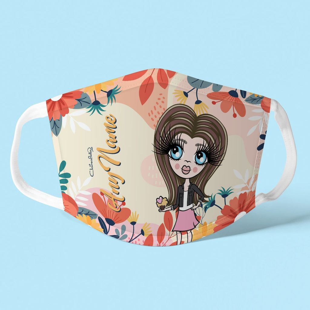 ClaireaBella Girls Personalised Colourful Floral Reusable Face Covering - Image 1