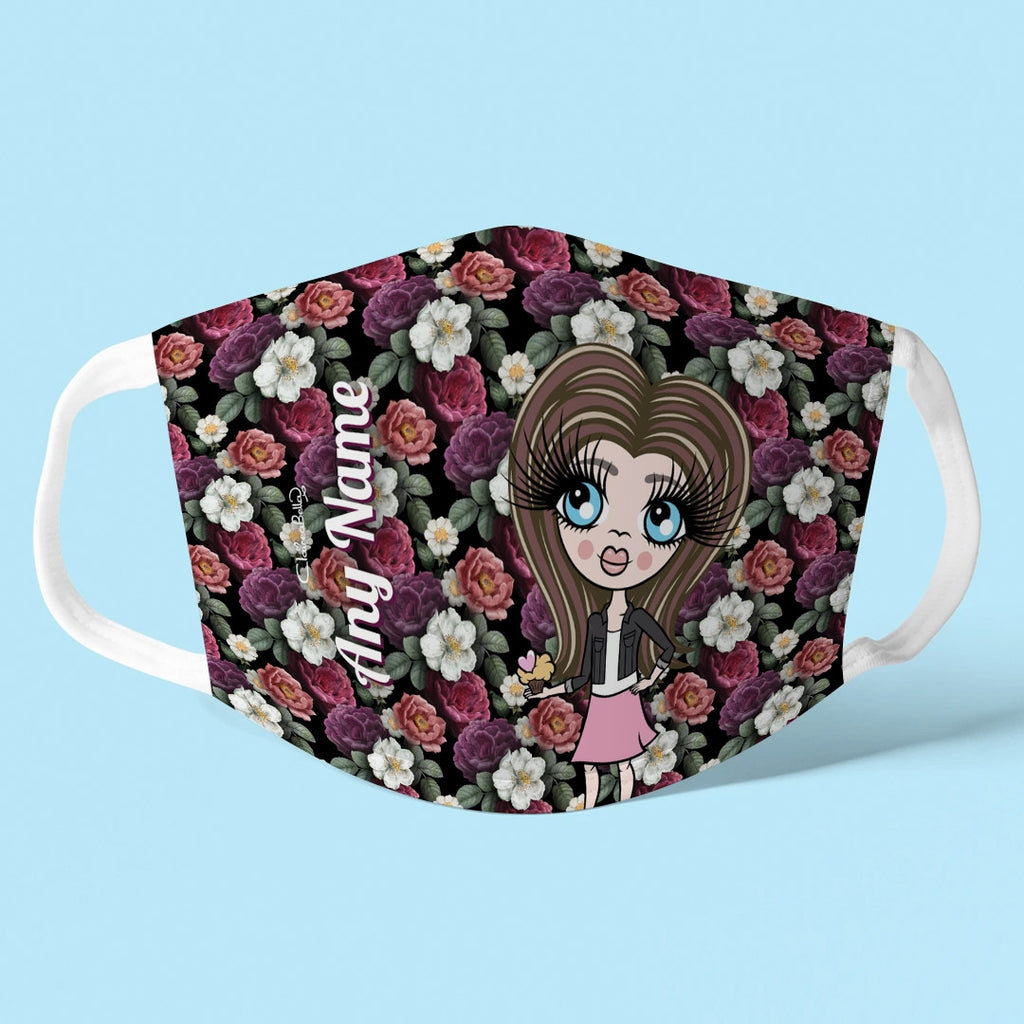 ClaireaBella Girls Personalised Floral Reusable Face Covering - Image 1