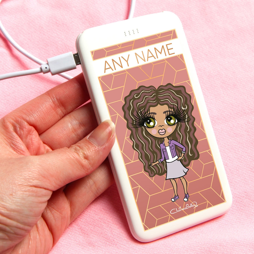 ClaireaBella Girls Geo Print Portable Power Bank - Image 1