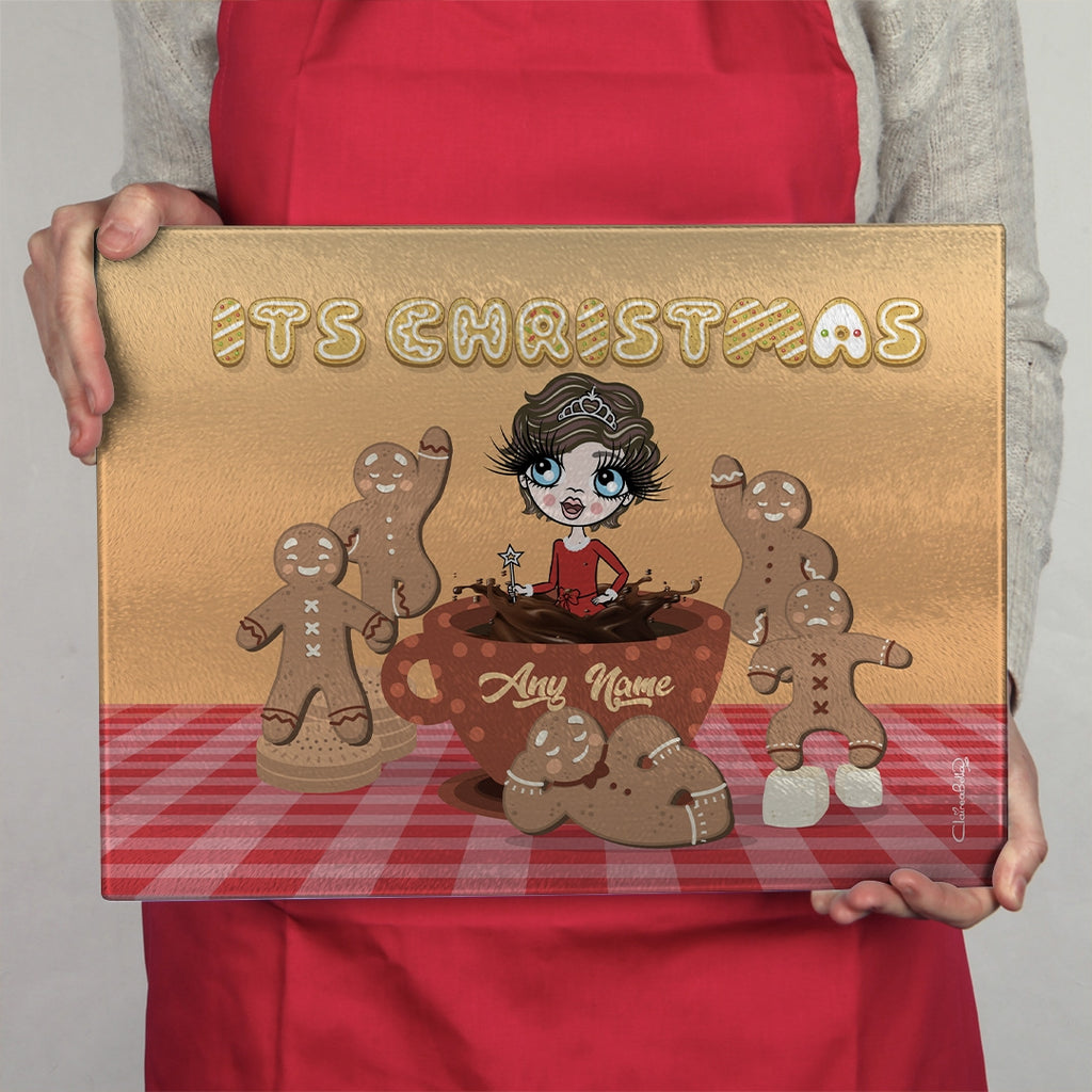 ClaireaBella Girls Glass Chopping Board - Gingerbread Joy - Image 3