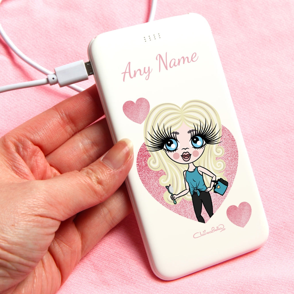 ClaireaBella Girls Glitter Heart Portable Power Bank - Image 1