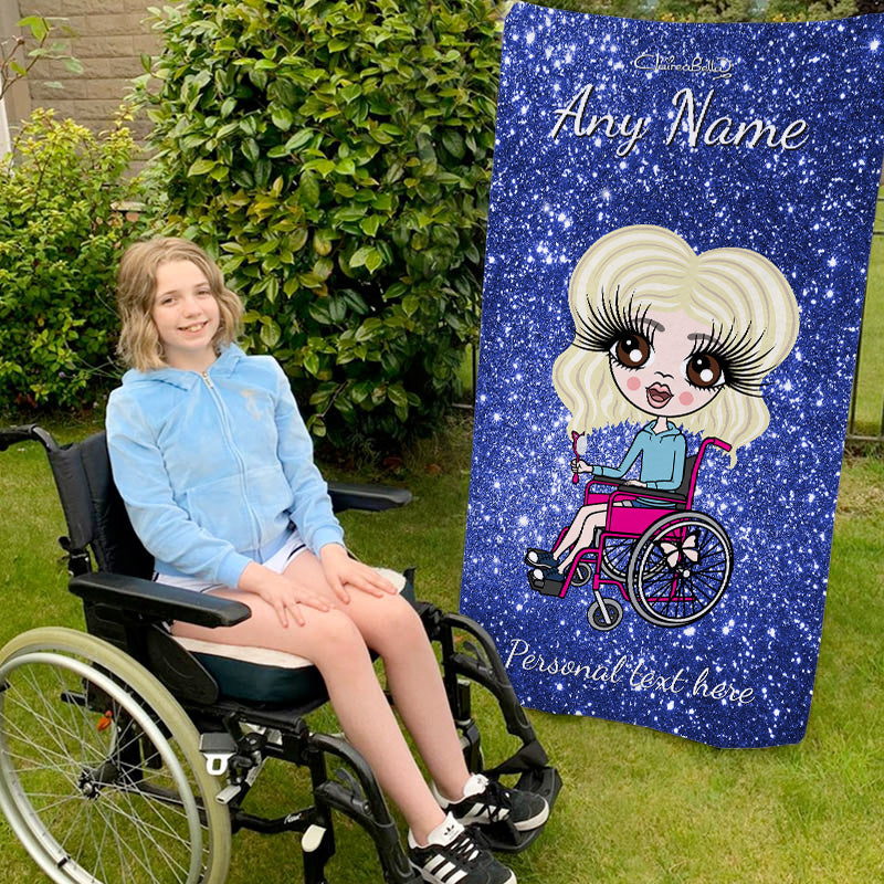 ClaireaBella Girls Glitter Effect Wheelchair Beach Towel