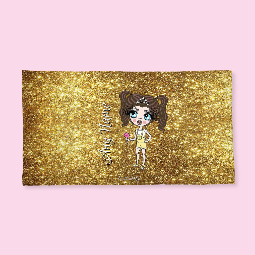 ClaireaBella Girls Gold Glitter Effect Hand Towel - Image 2