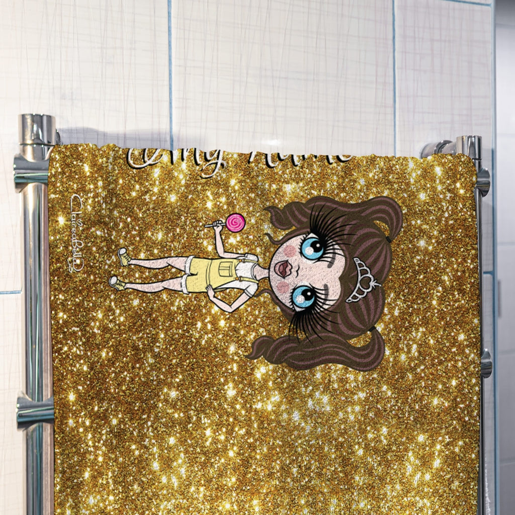 ClaireaBella Girls Gold Glitter Effect Hand Towel - Image 3