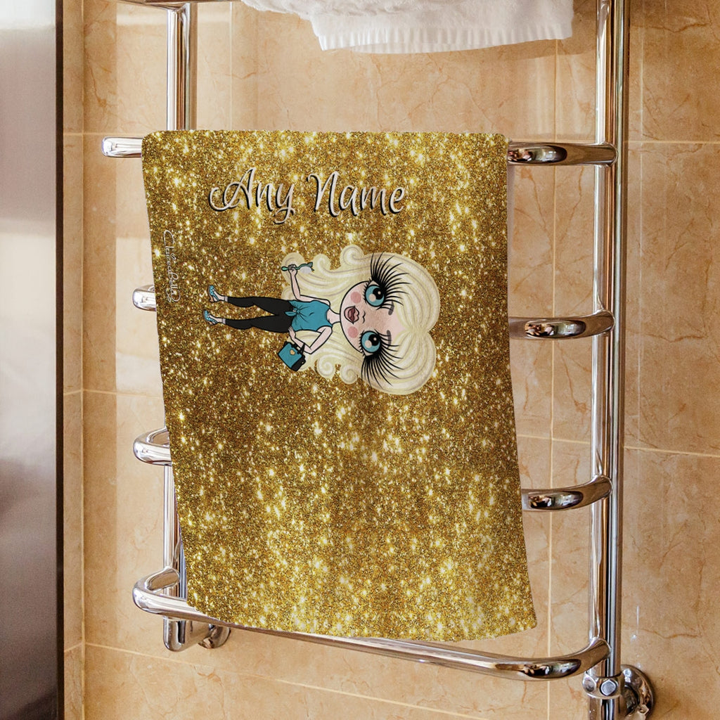 ClaireaBella Girls Gold Glitter Effect Hand Towel - Image 1