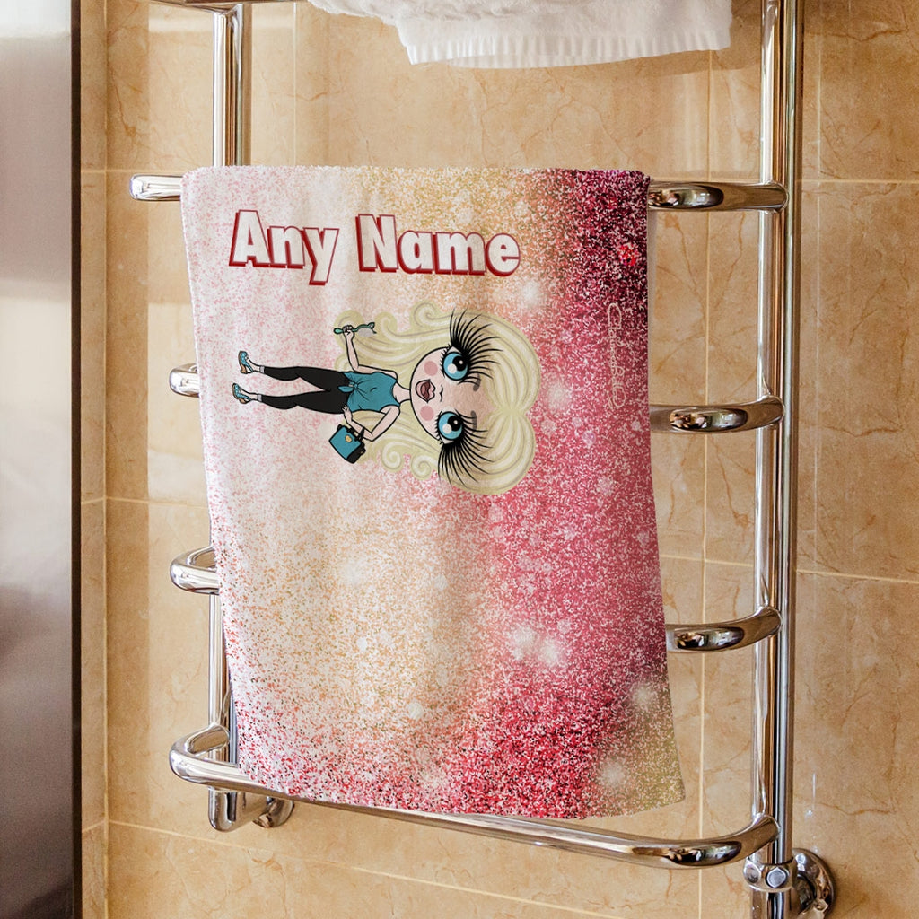 ClaireaBella Girls Ombre Glitter Effect Hand Towel - Image 1