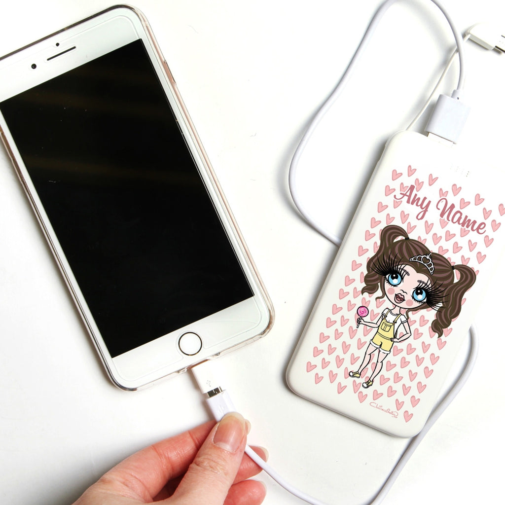 ClaireaBella Girls Heart Pattern Portable Power Bank - Image 3