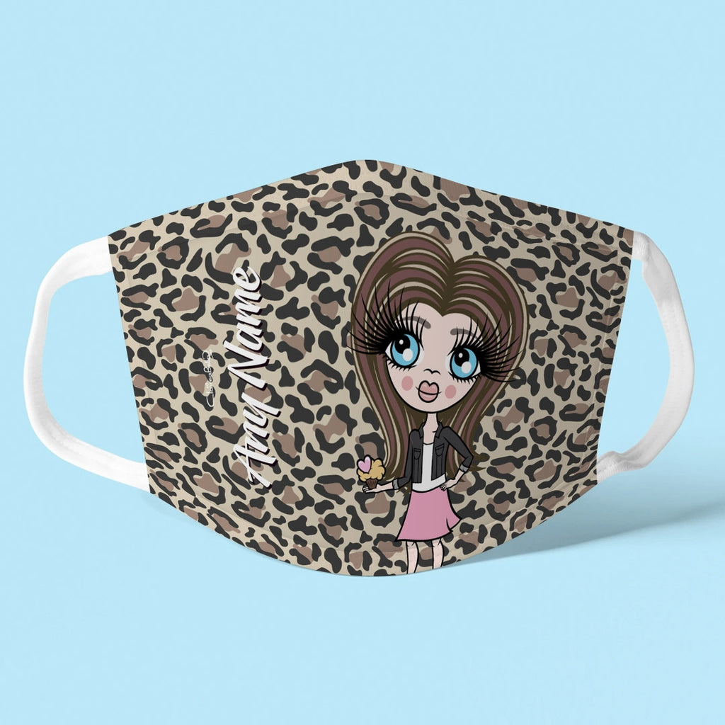 ClaireaBella Girls Personalised Leopard Print Reusable Face Covering - Image 1
