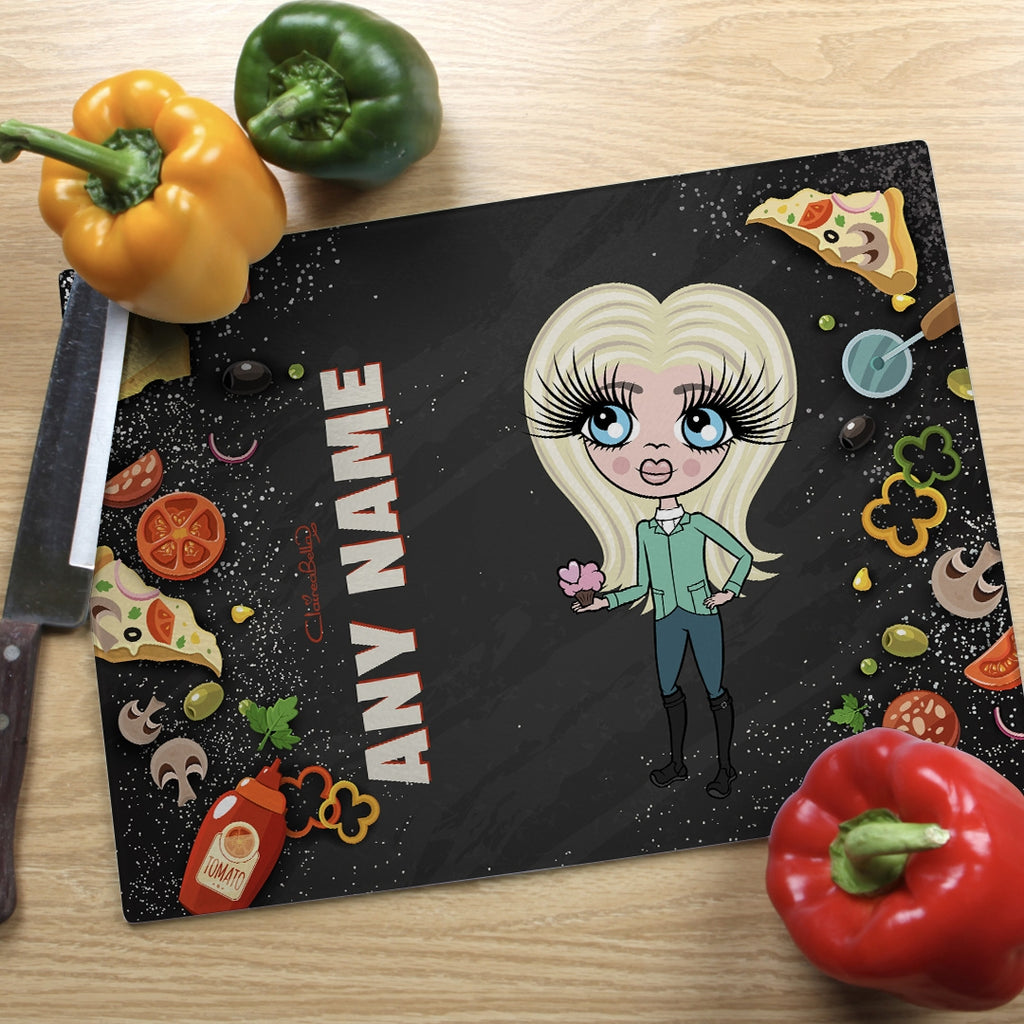 ClaireaBella Girls Landscape Glass Chopping Board - Pizza - Image 1
