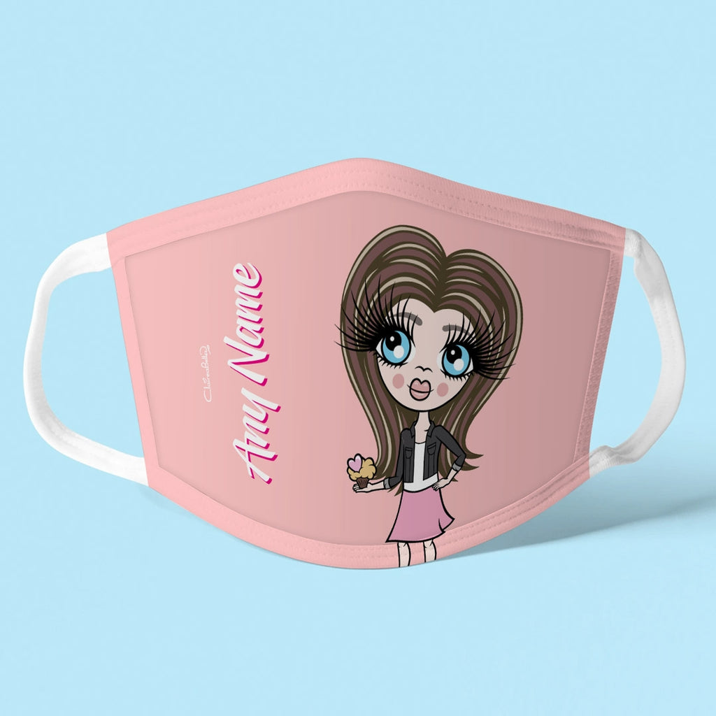 ClaireaBella Girls Personalised Blush Reusable Face Covering - Image 1