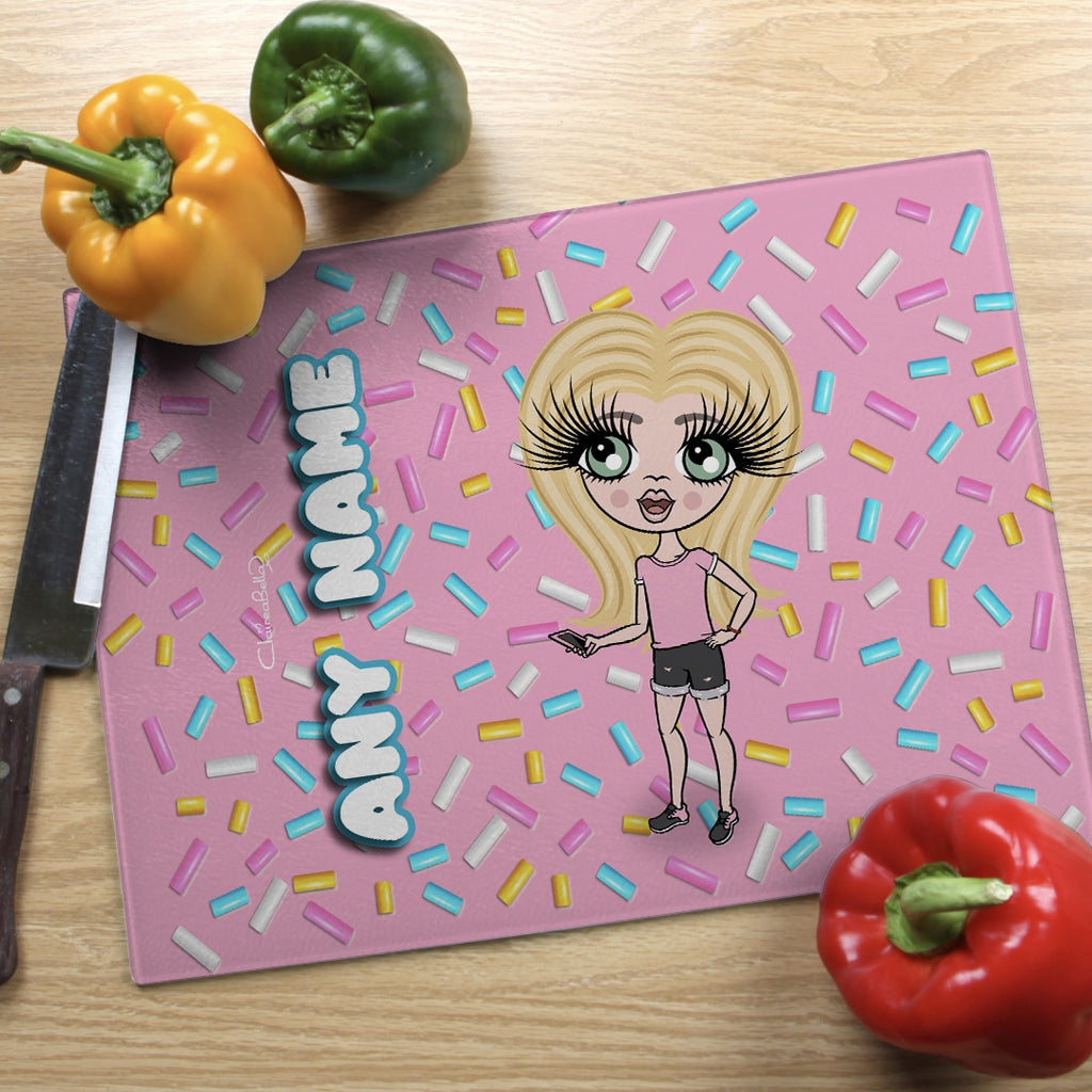 ClaireaBella Girls Landscape Glass Chopping Board - Sprinkles - Image 1