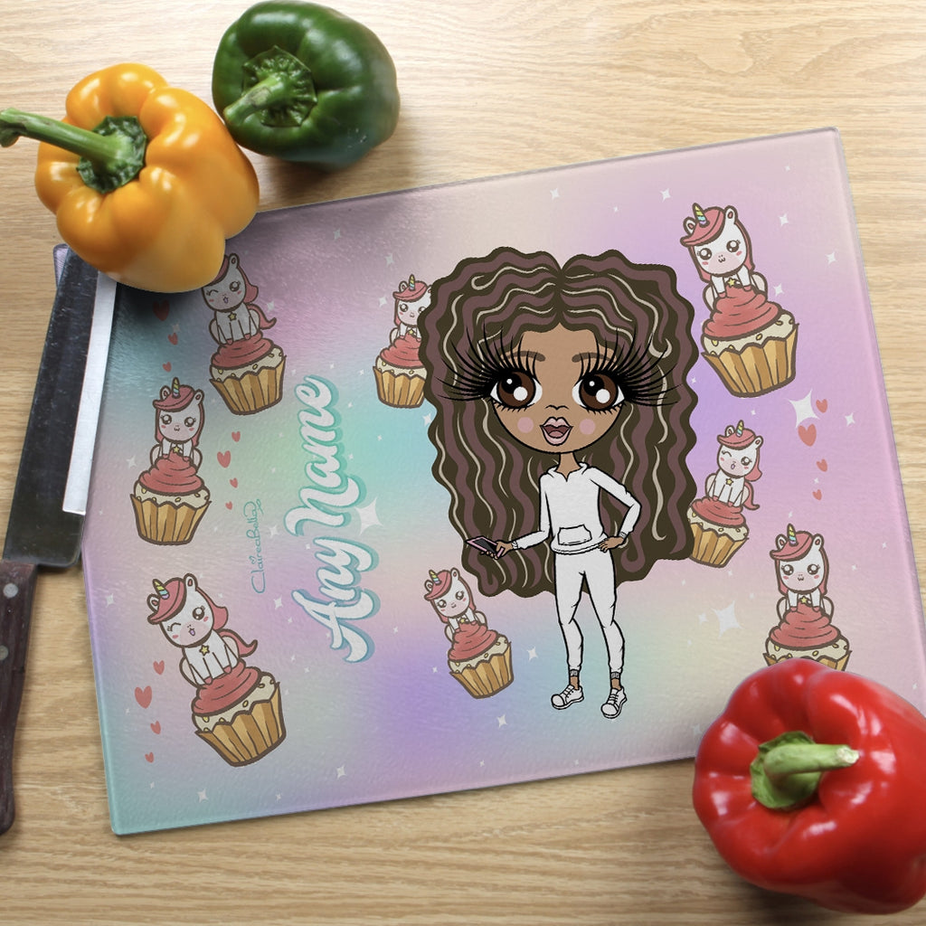 ClaireaBella Girls Landscape Glass Chopping Board - Unicorn Cupcakes - Image 1
