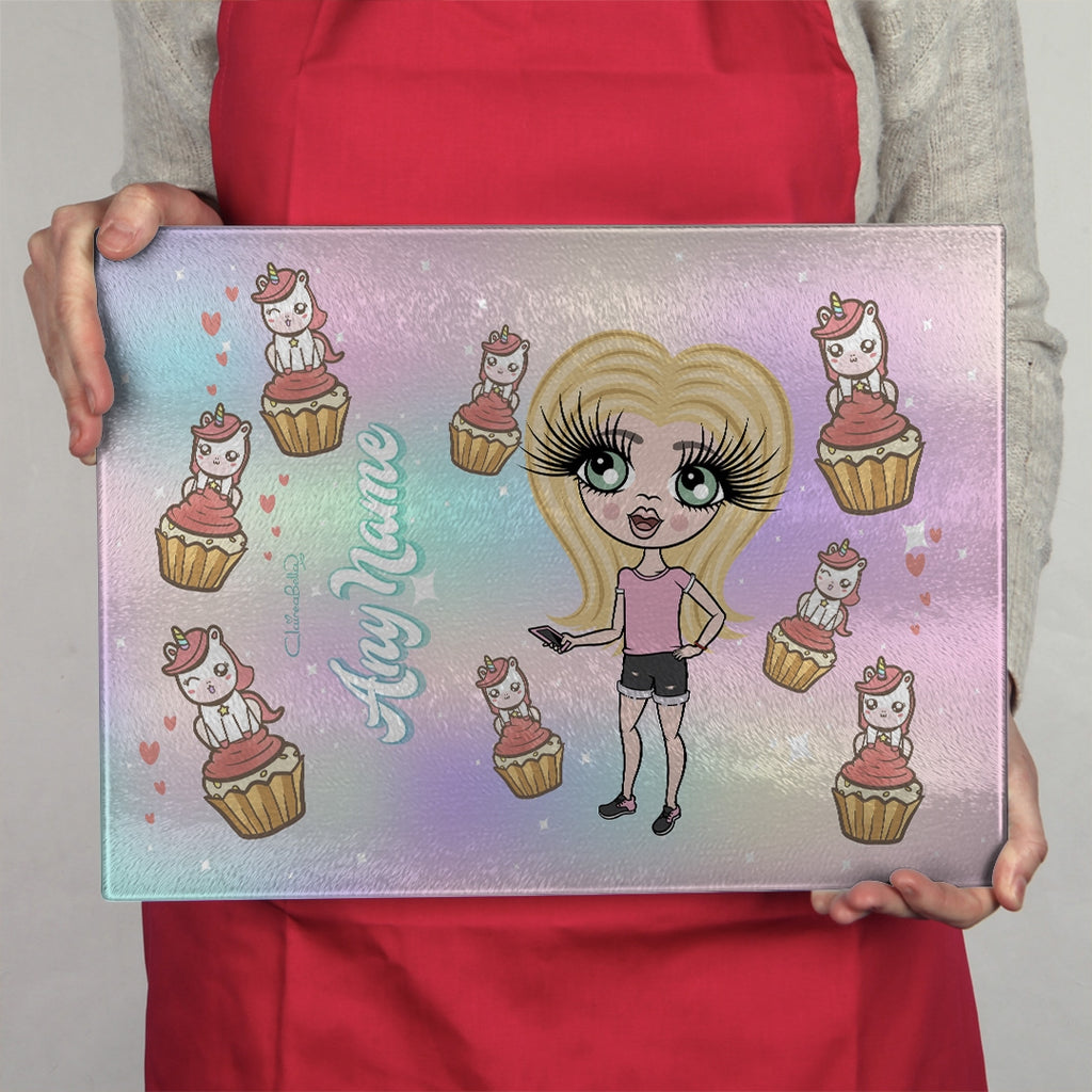 ClaireaBella Girls Landscape Glass Chopping Board - Unicorn Cupcakes - Image 4
