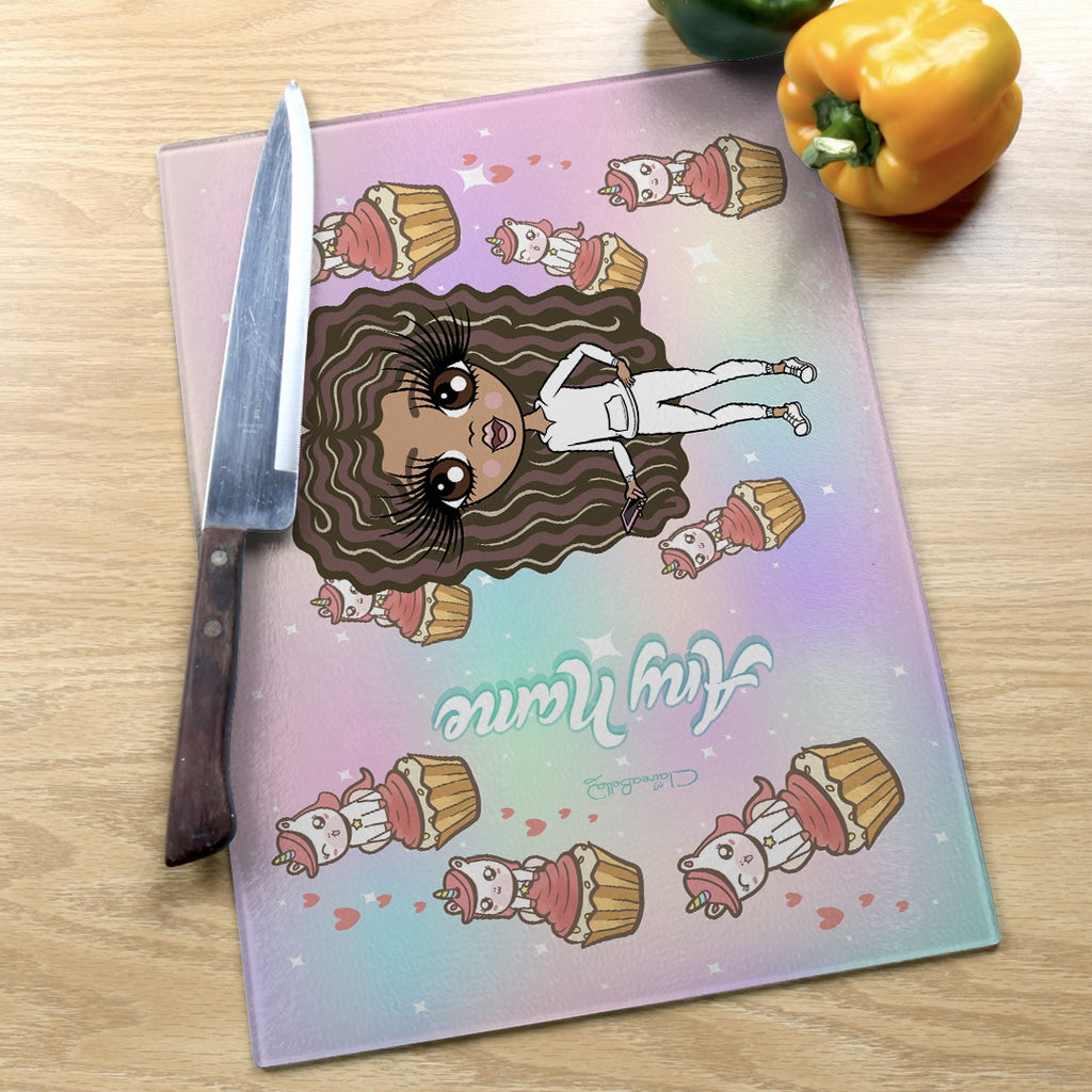 ClaireaBella Girls Landscape Glass Chopping Board - Unicorn Cupcakes - Image 6