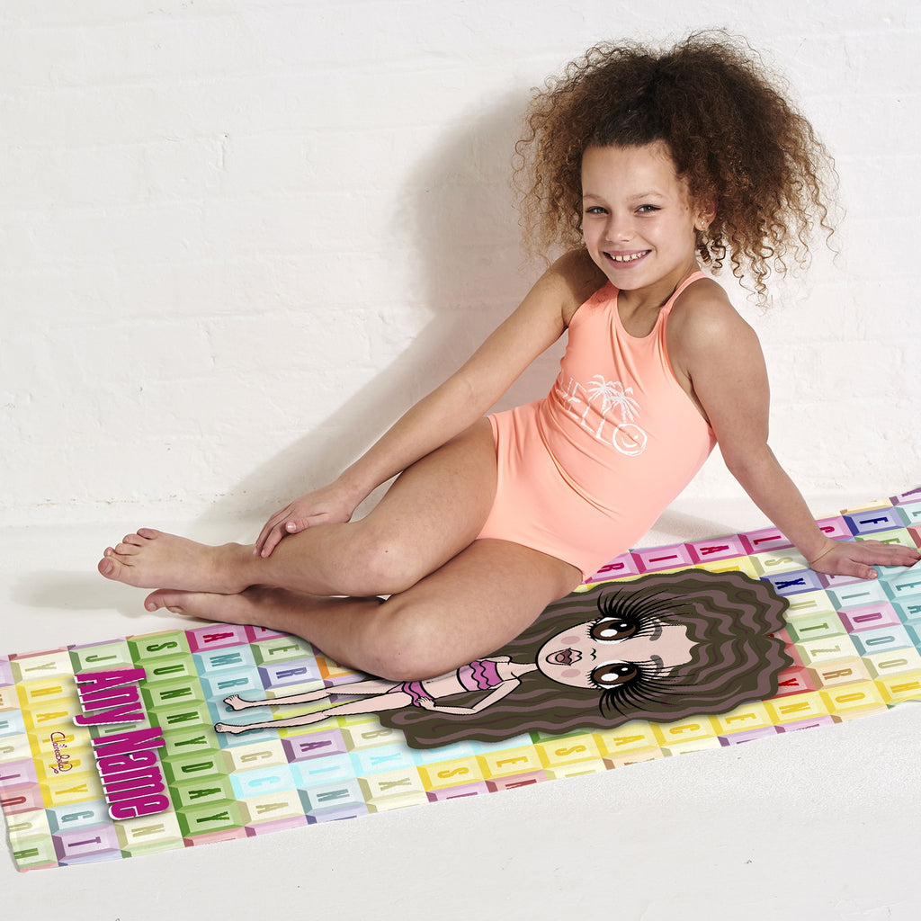 ClaireaBella Girls Word Search Beach Towel - Image 5