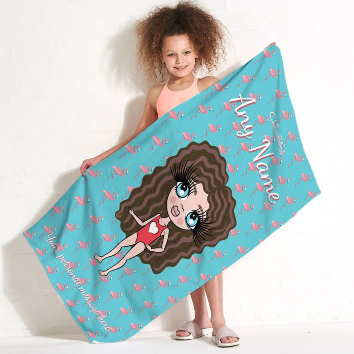 ClaireaBella Girls Flamingo Print Beach Towel - Image 2
