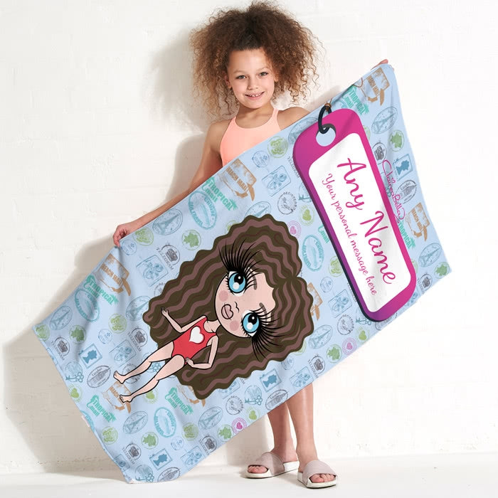 ClaireaBella Girls Travel Stamp Beach Towel - Image 1
