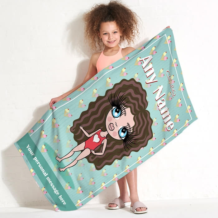ClaireaBella Girls Ice Cream Sundae Beach Towel - Image 2