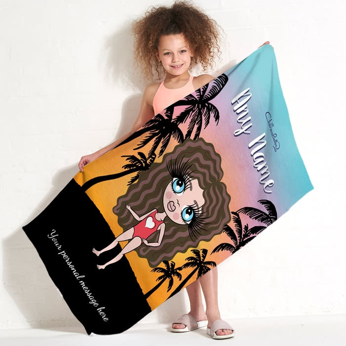 ClaireaBella Girls Tropical Sunset Beach Towel - Image 1