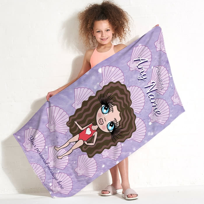 ClaireaBella Girls Sea Shells Beach Towel - Image 4