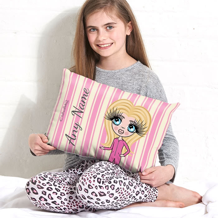 ClaireaBella Girls Placement Cushion - Pink Stripe - Image 1